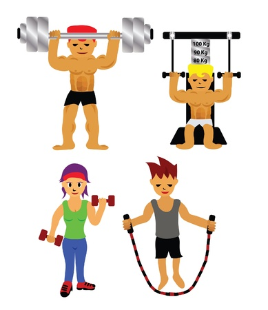 Vector - Sets of exercise Dumbbell,gym,weight lifting and jump rope  Vector