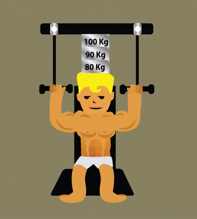 kilograms: Vector - Exercise He exercise in gym