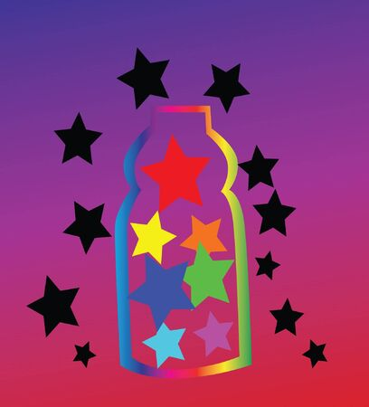 Colorful stars in bottle Concept Only creative was selected