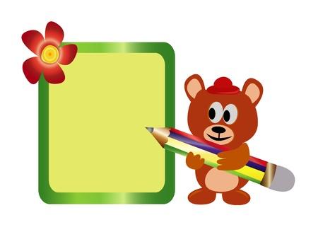 Teddy bear with a pencil,illustration  Vector