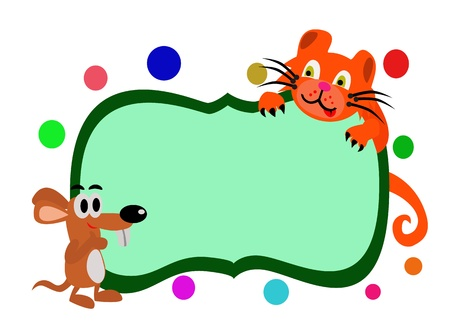 Vector - Rat and cat with the empty board  Stock Vector - 13910607