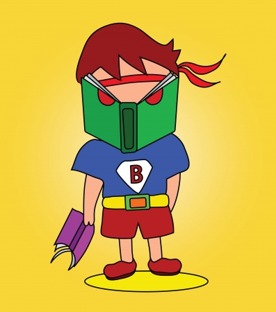 Vector - Book man He is hero name  Book man  Concept Love reading  Vector