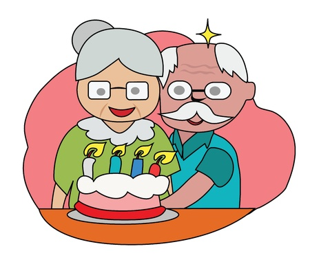 Vector - Happy birthday The couple older happy with a cake  Vectores