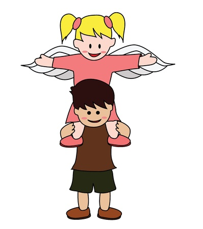 Vector - Lover Boy and angel  Stock Vector - 13973922