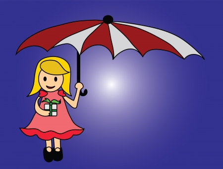 Vector - Girl and umbrella Concept Gift for your is space in my life Stock Vector - 13910559