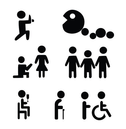 ni�os sosteniendo un cartel: Vector - ciclo de signos de vida infantil, la edad adulta y de edad Vectores
