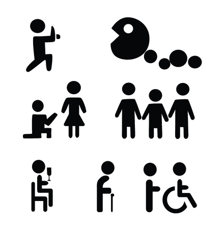 old people: Vector - Life cycle signs Childhood,adult and old age