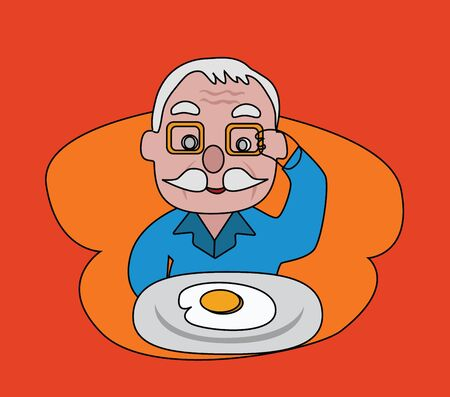 older: Vector - Fried egg The older looking at his food Menu of today is fried egg  Illustration