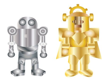 Vector - Two robots The iron robot and the golden robot  Illustration