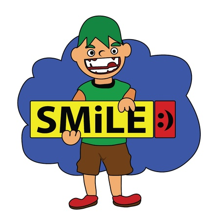 Vector - Smile The boy and smile sign  Illustration