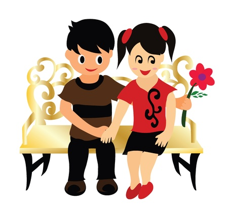 couple date: Vector - First date He presented her with rose