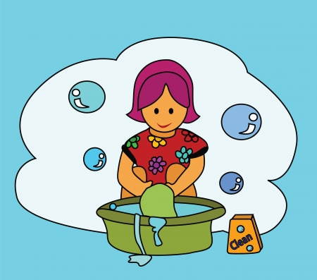 Vector - Washing The girl washing clothes with her hands  Illustration