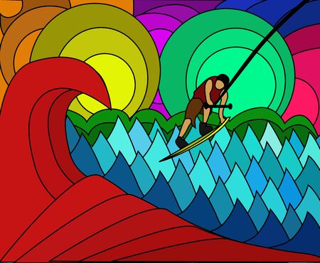 Vector - Fight colorful wave  Illustration