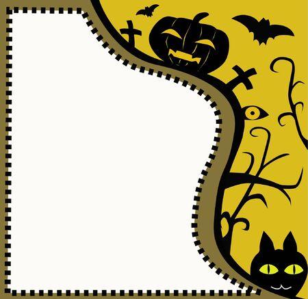 horror postcard  Halloween postcard with friends
