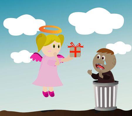 Angel and poor boy  Illustration