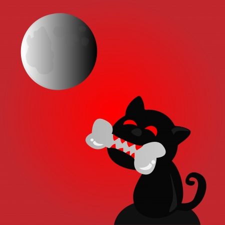 Horror,Devil cat in the full moon night  Illustration