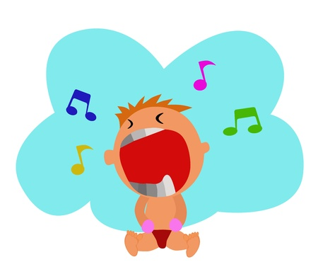 Kid crying - A cute boy is crying that he probably singing a song Stock Vector - 14205849