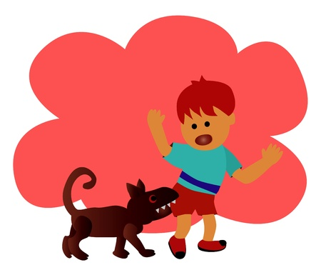 bites: danger The boy was bitten by dog  Illustration