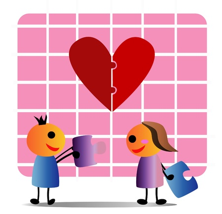 replenish: Replenish love The boy and girl exchanged the jigsaw each other concept Replenish what is missing  Illustration
