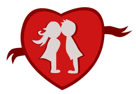 felling:  just married Kissing symbol for use in wedding  Illustration