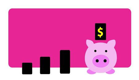 Piggy bank with growing graph  Vector