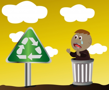 disposed:  A poor boy with the recycle sign  Illustration