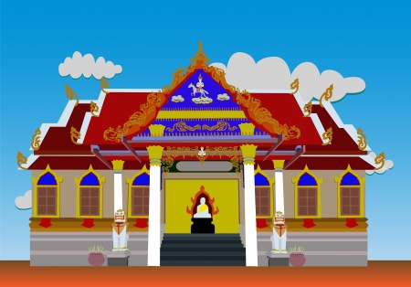 Temple in the morning with the sky  Illustration