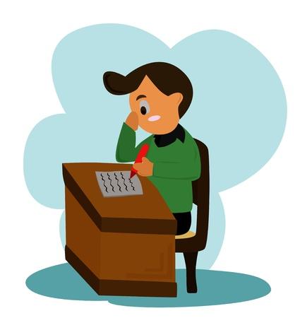 Writing cartoon - The man is writing Stock Vector - 14205857