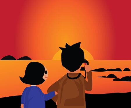 The couple taking a photo of the beach in the evening Concept My sweetheart and sunset  Illustration