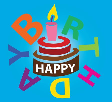 Illustration - Happy birth day Font  I  in the Word  birth  was designed to be a candle