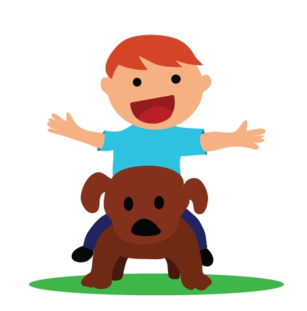 Illustration - Boy and pet The boy is riding a dog