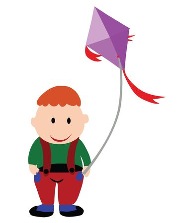 Illustration - Fat boy A fat boy is playing a kite