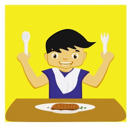 illustration - food The boy ready to eat breakfast