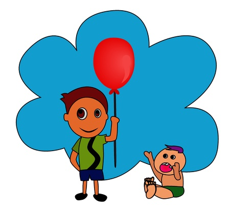 illustration - The boy and his younger brother concept Wan ted a balloon