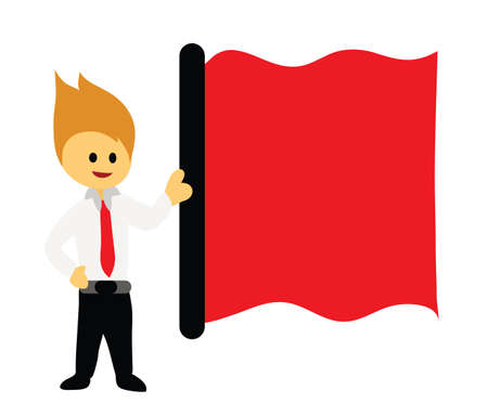 Illustration - Businessman and red flag A businessman holding a red flag