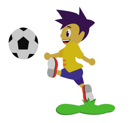 premier league: illustration - soccer  The boy is playing soccer  Stock Photo