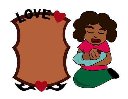 Illustration - African mom with baby You can write text in empty blank  Stock Photo