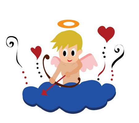 Illustration - Little cupid  Little cupid on a cloud isolate on white  Stock Photo