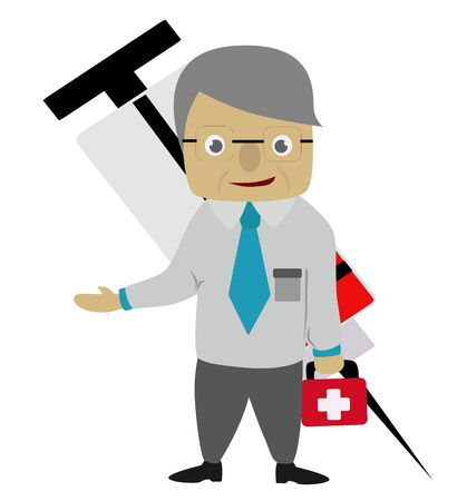 illustration - Cartoon of doctor standing with a medical equipment  Stock Photo