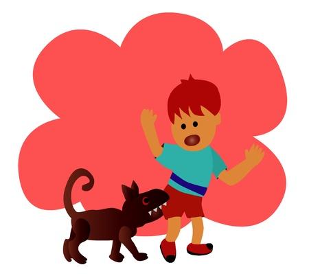 Illustration - danger The boy was bitten by dog