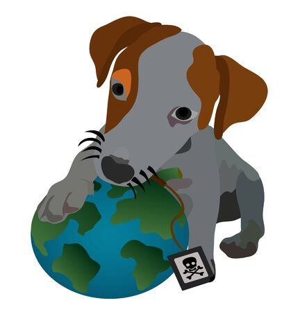 Illustration - Puppy playing earth Concept I love the earth  Stock Photo