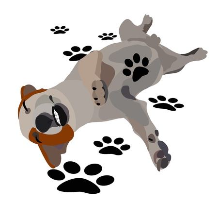 Illustration - Funny dog Concept Who are stomp on me
