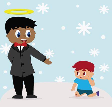 illustration - God God help the child fall