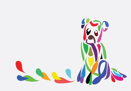 Illustration - Abstract colorful background with a dog