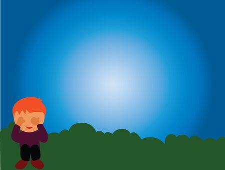 Illustration - Hide A boy is hiding