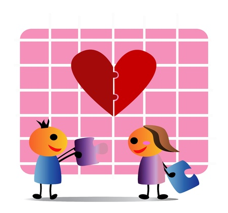 constructs: illustration - Replenish love The boy and girl exchanged the jigsaw each other concept Reple nish what is missing