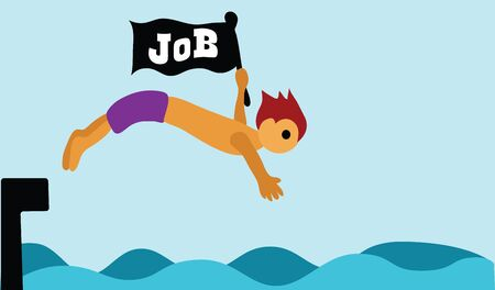 Illustration - Finding job A man is finding job in a wide sea  Concept  Difficult but I will try  Stock Photo