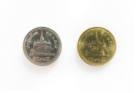 Front of Isolated Different Coins for 2 Bath  in Thailand photo