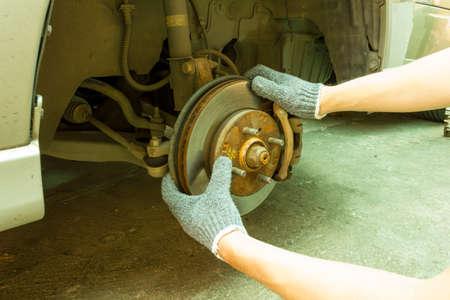 Checking suspension and brake system. 免版税图像