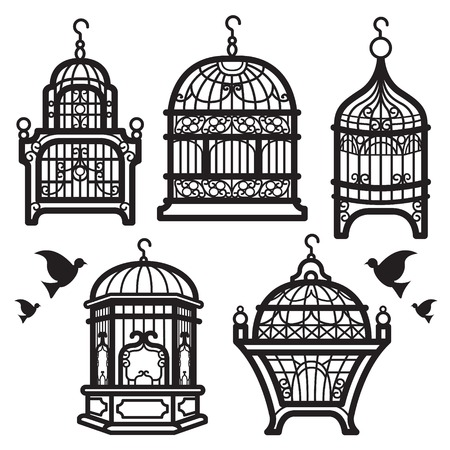 jail bird: vector about bird cage painted with black stripes. Ideal to decorate the house as wallpaper vintage style.